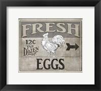 Framed Vintage Farm Sign - Local Farmer - Fresh Eggs