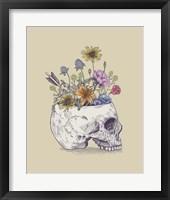 Framed Half Skull Flowers