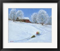 Framed Barn and Children with Sled