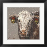 Framed Patty the Brown Christmas Cow