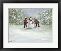 Framed Snowman and Children
