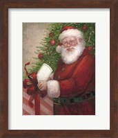 Framed Santa with a Gift