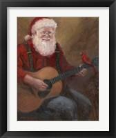 Framed Santa with Guitar