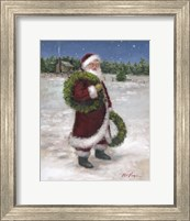 Framed Santa with Two Wreaths