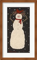 Framed Short Snowman with Cardinal