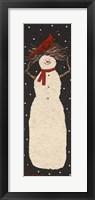 Framed Tall Snowman with Cardinal