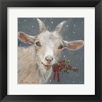 Framed Goat with Holly