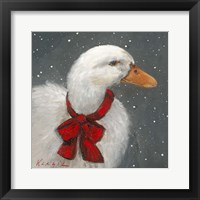 Framed Goose Red Xmas Bow