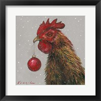 Framed Rooster with Red Xmas Ball