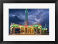 Framed Rt 66 Shamrock Texas Conoco Lightning
