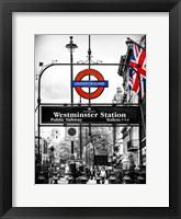Framed Westminster Station Underground
