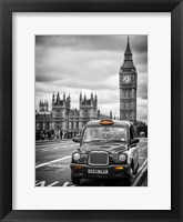 Framed London Taxi and Big Ben - London