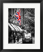 Framed London Taxi and English Flag