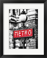 Framed Metro Sign Paris