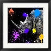 Framed Safari Colors Pop Collection - Rhino Portrait