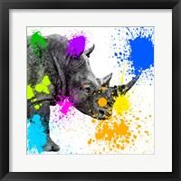 Framed Safari Colors Pop Collection - Rhino Portrait II