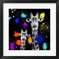Framed Safari Colors Pop Collection - Giraffes Portrait VI