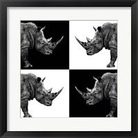 Framed Safari Profile Collection - Rhinos II
