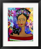 Framed Frida And Her Cat