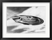 Framed 1950s Artist'S Conception Ufo Flying Saucer