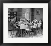 Framed 1930s Family Of 6 Sitting At The Table