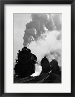 Framed 1930s 1940s Head-On View Of Three Steam Engines