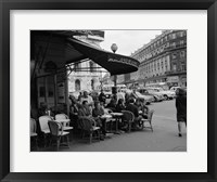 Framed 1960s Patrons At Cafe De La Paix Sidewalk Cafe In Paris?