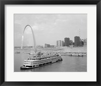 Framed 1960s St. Louis Missouri Gateway Arch Skyline