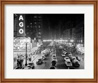 Framed 1950s 1953 Night Scene Of Chicago State Street