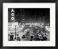 Framed 1950s 1953 Night Scene Of Chicago State Street