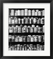 Framed 1920s 1930s 1940s Tin Cans And Containers