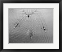 Framed 1950s Aerial View Of Rowing Competition