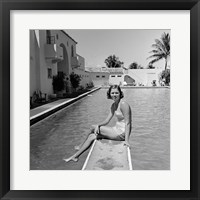 Framed 1930s Woman On Pool Diving Board