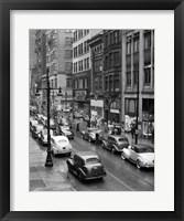 Framed 1940s Rainy Day On Chestnut Street Philadelphia