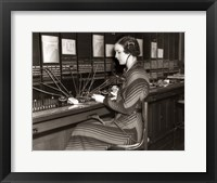 Framed 1930s Woman Telephone Operator