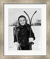 Framed 1930s Little Girl Standing Holding Skis