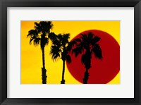 Framed 1990S 3 Silhouetted Palm Trees