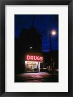 Framed 1980s 24 Hour Drug Store Neon Sign