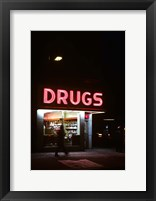 Framed 1980s Drug Store At Night Pink Neon Sign