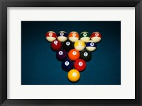 Framed Billiard Balls Racked Up On Pool Table