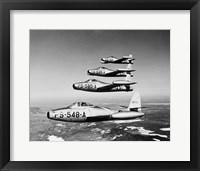 Framed 1950s Four Us Air Force F-84 Thunderjet Fighter