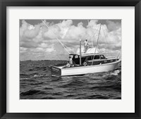 Framed 1950s 3 Men Trolling Off Of Fishing Boat