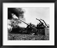 Framed 1940s Wwii Big Artillery Railroad Gun Firing