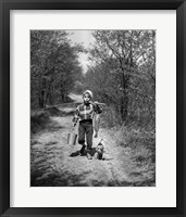 Framed 1950s Boy With Beagle Puppy