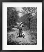 Framed 1950s Boy With Beagle Puppy