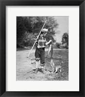 Framed 1950s Boy Plaid Shirt Sailor In Hat