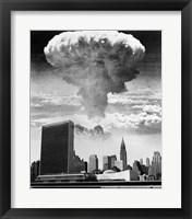 Framed 1950s 1960s Mushroom Cloud Over United Nations Building