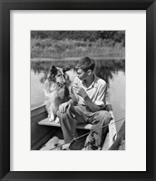 Framed 1930s Boy And Collie Dog