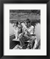 Framed 1930s Boy And Collie Dog