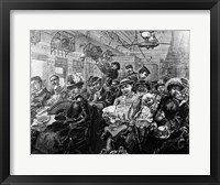 Framed 1880S Illustration Crowded Passenger Car